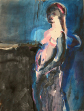 Blue and Pink Figure, Copyright 2009, Gail Chadell Nanao